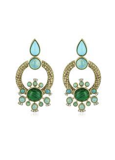 Roberto Cavalli Bohemian Gold and Turquoise Earrings