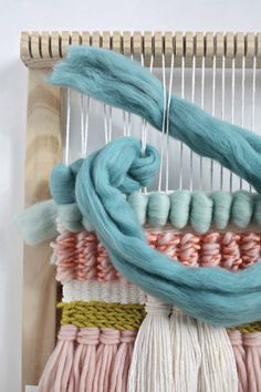Love the look of woven wall hangings? Easy Weaving with Little Looms has instructions to help you create your own, with varied yarns, stitches, and other techniques. #tapestry #weaving