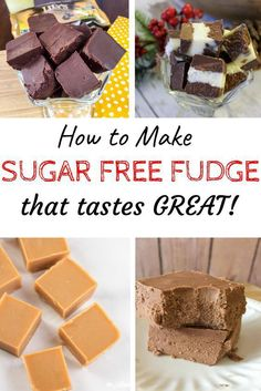How to make easy sugar free fudge - these recipes are both low carb and keto, plus they are diabetic friendly! Some can be made dairy free and some are only 2 ingredients! Peanut Butter, Chocolate and more! #sugarfreefudge #keto #lowcarb