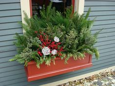 window box decoration during winter Christmas Window Boxes, Winter Window Boxes, Christmas Planters, Christmas Porch, Outdoor Christmas, Winter Christmas, Christmas Flowers, Window Box Flowers, Flower Boxes