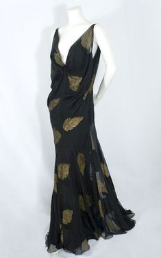 ~Hollywood style, bias cut evening dress, 1930s, from the Vintage Textile archives~