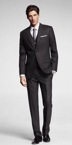 Not the model as such, rather ANY man between 25 and 45 in a good suit! Express Mens Charcoal End On End Modern Fit 3-piece Suit...LOVE