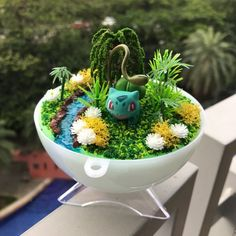 Pokemon Room, Pokemon Craft, Cute Pokemon, Pokemon Terrarium, Terrarium Diy, Oriental, Bulbasaur, Digimon, Polymer Clay