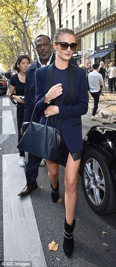 Who made Rosie Huntington-Whiteley's navy handbag, black chain ankle boots, blue blazer, and leather skirt? All Fashion, Fashion Outfits, Fasion, Fashion News, Leather Mini Skirts, Leather Skirt, Rosie Huntington Whiteley, Navy Tops, My Style