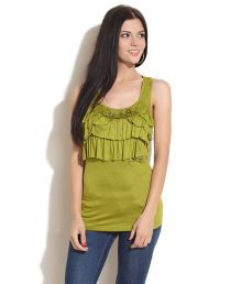 Remanika Green Ruffled Bow Tee