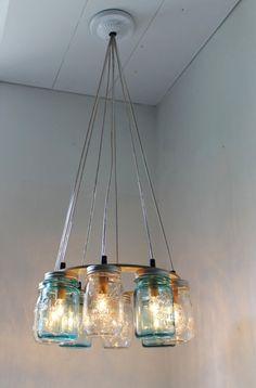 Mason Jar Chandelier - #Upcycle This! 16 Ways to Reuse Mason Jars