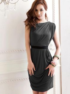 and Vogue Women's Elegance One Shoulder Nip Waisted Party Dresses with Belt Sage  Party Dresses from stylishplus.com