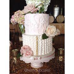 Wedding Cake. Weddings. Whimsical. Shabby Chic Wedding. Ivory and Blush. Rustic Wedding. #VillageIndulgence @Kerricupcake on Instagram