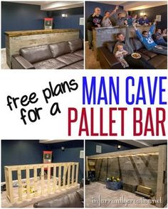 Woodworking Plans | DIY Man Cave Pallet Bar ~ It cost about $135 to build this 10 foot bar from reclaimed pallet wood. It's perfect for extra seating and an eating area during the big game. Get the free plans to build it yourself!