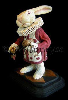 Alice in Wonderland White Rabbit Sculpture.