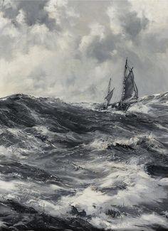 The Captain Slocum- Spray, Montague Dawson // ocean waves storm sailing Ship Paintings, Seascape Paintings, Montague Dawson, Moby Dick, Bateau Pirate, Old Sailing Ships, Stormy Sea, Nautical Art, Ship Art