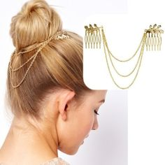 Chic Gold Tone Leaf Hair Cuff Chain Comb Jewelry Headpiece Headband Head Piece   eBay