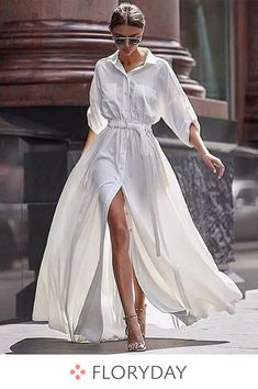 Solid Pockets Collar Long Sleeve Maxi Dress, white dress, long dress, fashion 2018