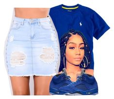 Shawty Rocking All Blue Like A Crip  by hoeslovetafoya on Polyvore featuring polyvore fashion style Ralph Lauren clothing
