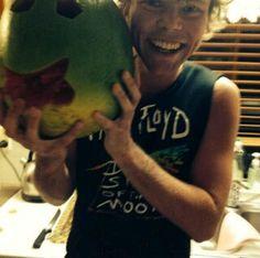 Ashton Irwin with his watermelon man