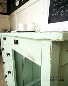 distressed furniture  love this mint color maybe for the bedroom