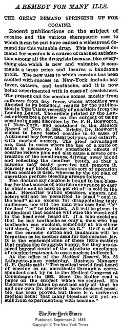 Cocaine - a remedy for many ills. Published in NY Times, September 1885 Smoking Effects, Insane Asylum, Medical History, The Cure, Remedies, September 2, Ny Times, Apothecary