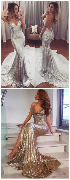 Silver Prom Dresses Sexy, Long Prom Dresses 2018, Trumpet/Mermaid Party Dresses V-neck, Sequined Formal Evening Dresses Ruffles, Gold Pageant Dresses Backless