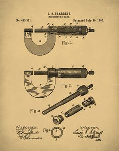 Micrometer Patent Print, 1890 Micrometer Gauge, Precision Tool, Mechanical Engineering, Machinist To Machinist Tools, Precision Tools, Vintage Tools, Mechanical Engineering, Patent Prints, Gauges, Metal Working, Colorful Backgrounds, Workshop