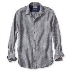 Banana Republic Mens Heritage Dobby Linen Shirt ($99) ❤ liked on Polyvore featuring men's fashion, men's clothing, men's shirts, men's dress shirts, tops and navy