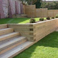 Back Gardens, Outdoor Gardens, Railway Sleepers Garden, Oak Sleepers, Sleeper Retaining Wall, Wood Retaining Wall, Garden Retaining Walls, Landscape Design, Garden Design