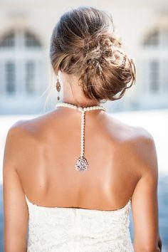 Swarovski Crystal & Pearl Backdrop Collar Necklace
