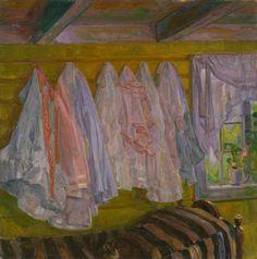 thorvald erichsen(1868-193), summer dresses, interior from seljord, 1905. oil on canvas, 75.5 x 75.5 cm. nasjonalmuseet for kunst, arkitektur og design, norway