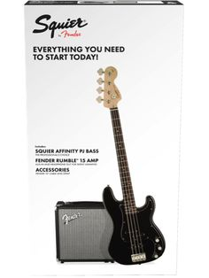 """The New Fender Squier Affinity PJ Bass Pack Black With Rumble 15 Check It Out At - http://www.promusicalaska.com/store/guitars/bass-guitars/fender-squier-affinity-pj-bass-pack-black/ #ProMusic #Alaska #Fairbanks #Anchorage   Color: Black P Bass® split-coil middle pickup; J Bass® single-coil bridge pickup """"C""""-shaped maple neck Includes: Rumble 15 bass amplifier 10′ instrument cable Instrument strap"""
