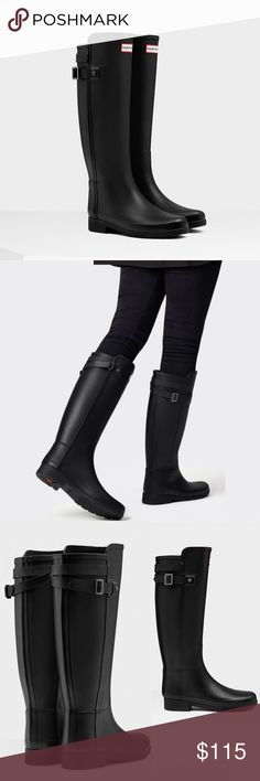 Hunter Women's Original Refined Back Strap Boots Hunter Women's Original Refined Back Strap Rain Boots Everyone needs this classic style in their wardrobe! Legendary Hunter fit and comfort. Unique latex dipped construction  -New refined silhouette -Slim leg fit -Waterproof shell, strong yet flexible -Woven nylon lining -Cushioned footbed for extra comfort -For fall and winter use, warm socks are recommended -Worn for a season but they're a little too small on me. Cleaned of white waxy…