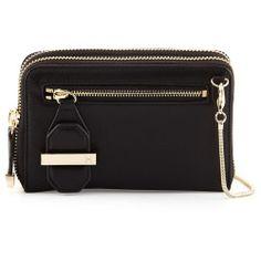 Halston Heritage Zip-Around Leather Crossbody Bag, Black, Womens