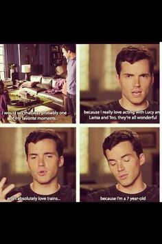 Hes so cute :3 Ian Harding (Ezra- Pretty Little Liars) loves his trains <3
