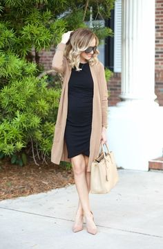 Love this dress & the material w the slouchy Cardigan. Source by chhegner casual maternity Black Dress Outfits, Cardigan Outfits, Dress With Cardigan, Beige Cardigan, Cardigan Fashion, Slouchy Cardigan, Dress Black, Blazer Dress, Little Black Dress Outfit