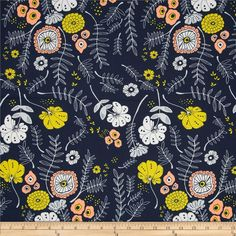 Art Gallery Tule Meadow Vale Dark from @fabricdotcom  Designed by Leah Duncan for Art Gallery Fabrics, this cotton print is perfect for quilting, apparel and home decor accents.  Colors include white, yellow, dark peach and navy.  Art Gallery Fabric features 200 thread count of finely woven cotton.