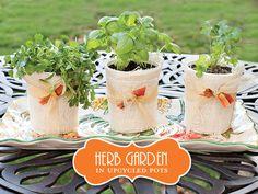 Cute yoghurt pot herb garden Herb Garden In Kitchen, Diy Herb Garden, Garden Gifts, Upcycled Garden, Herbs Garden, Diy Party, Party Favors, Party Ideas, Small Herb Gardens