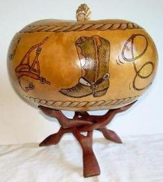 Gourd Art -- pyrography wood burning on gourds, done by mom dear mom. She has so many styles and types of art that she does, and is so talented!