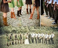 Bridesmaids in boots for an outdoor wedding. I'd let them choose their own dresses within the color palette.