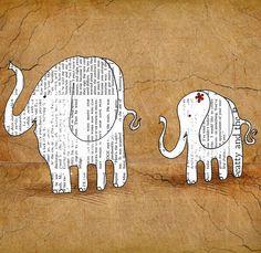 Elephant baby wall art, White elephant art nursery, Retro elephant, Kids room elephant art print 12 x 16 inch print by Juri Romanov. $45.00, via Etsy.