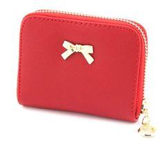 Nina Bowknot Zipper Wallet - 7 Colors Leather Purses 30cb840aaa3c
