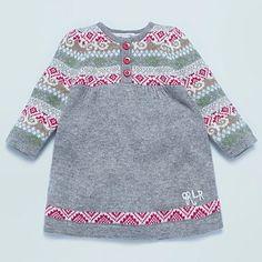 Baby's grey Fairisle knitted long sleeved dress  by John Rocha