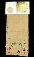 "NWT Pier 1 Gold Sparkle Tan Burlap Christmas Tree Skirt 52"" Red Green Beading"