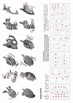 Tortoise390_natural | ディートルソ ペーパークラフト by アキ工作社 | 動物のカタチ///ミドルサイズ///亀箱(かめばこ)