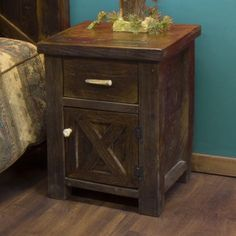Antler and Barnwood Nightstand | Antler Decor | Rustic Cabin Furniture