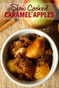 Slow Cooked Caramel Apples - Holistic Squid--sub 2 Tbs coconut flour for the sprouted flour Paleo Sweets, Paleo Dessert, Delicious Desserts, Yummy Food, Fall Recipes, Sweet Recipes, Whole Food Recipes, Healthy Recipes, Healthy Desserts