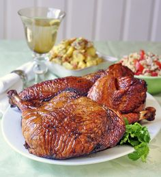 Simple Brined Smoked Turkey - a 24 hour brine infuses citrus and spice into the meat before being slowly smoke barbequed to juicy perfection. A great summer weekend cooking idea and a wonderful picnic addition too. Rock Recipes, Great Recipes, Favorite Recipes, Fall Recipes, Smoked Turkey, Roasted Turkey, Smoking Recipes, Turkey Recipes, Egg Recipes