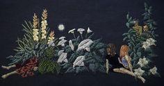 "https://flic.kr/p/ocKVqR | The Night Bloomers | 7 x 14"" embroidery on linen"