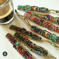 Macrame bracelets with beads