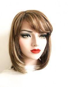 Model EMA #102-Peruca par natural mediu castaniu inchis cu blond | Peruci.ro | Peruci.ro Human Hair Wigs, Wig Hairstyles, Blond