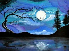 Items similar to Tree Art Print - landscape surreal original art by ANGIECLEMENTINE 8 x 10 professional print - ready to frame on Etsy Art And Illustration, Art Original, Art Plastique, Tree Art, Painting & Drawing, Moon Painting, Watercolor Painting, Lake Painting, Oeuvre D'art