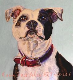 """I'm No Bully"" – Hara the Staffordshire Bull Terrier – Artist, Artwork, Art techniques Call For Entry, Staffordshire Bull Terrier, Dog Art, Art Techniques, Pet Portraits, Bullying, Boston Terrier, Pitbulls, Doggy Stuff"