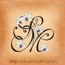 Monogramma SM con orchidea